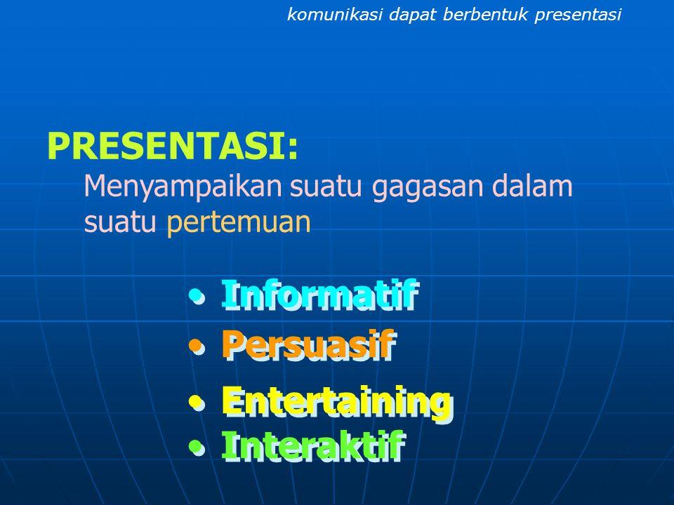 PRESENTASI: Informatif Persuasif Entertaining Interaktif