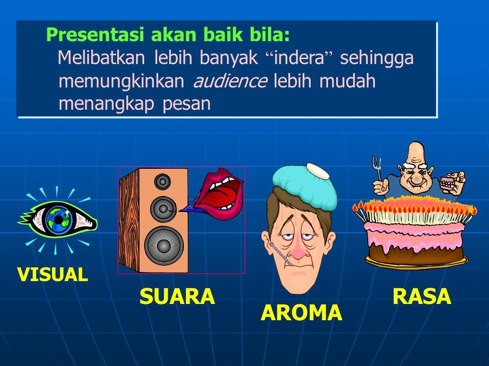 SUARA RASA AROMA Presentasi akan baik bila: