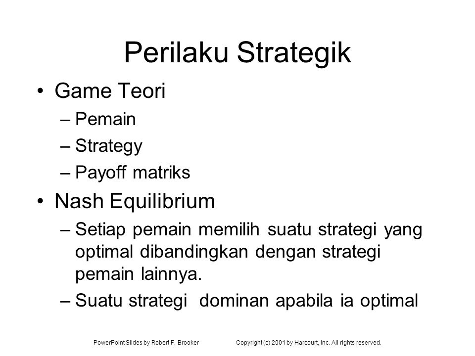 Perilaku Strategik Game Teori Nash Equilibrium Pemain Strategy
