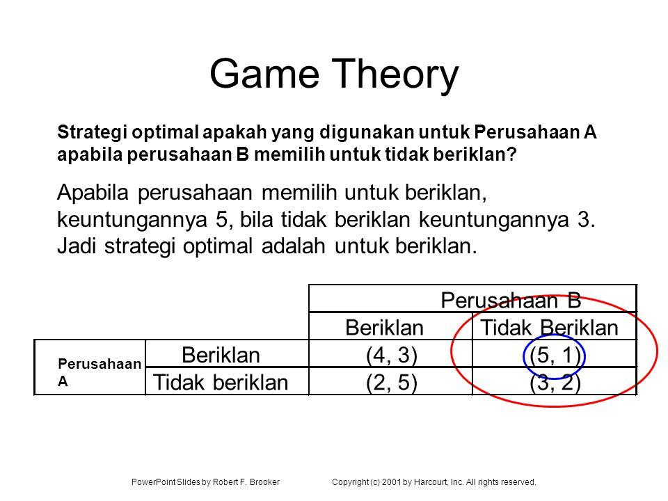 Game Theory Strategi optimal apakah yang digunakan untuk Perusahaan A apabila perusahaan B memilih untuk tidak beriklan