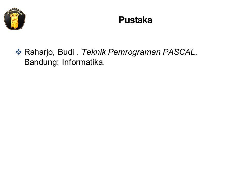 Pustaka Raharjo, Budi . Teknik Pemrograman PASCAL. Bandung: Informatika.