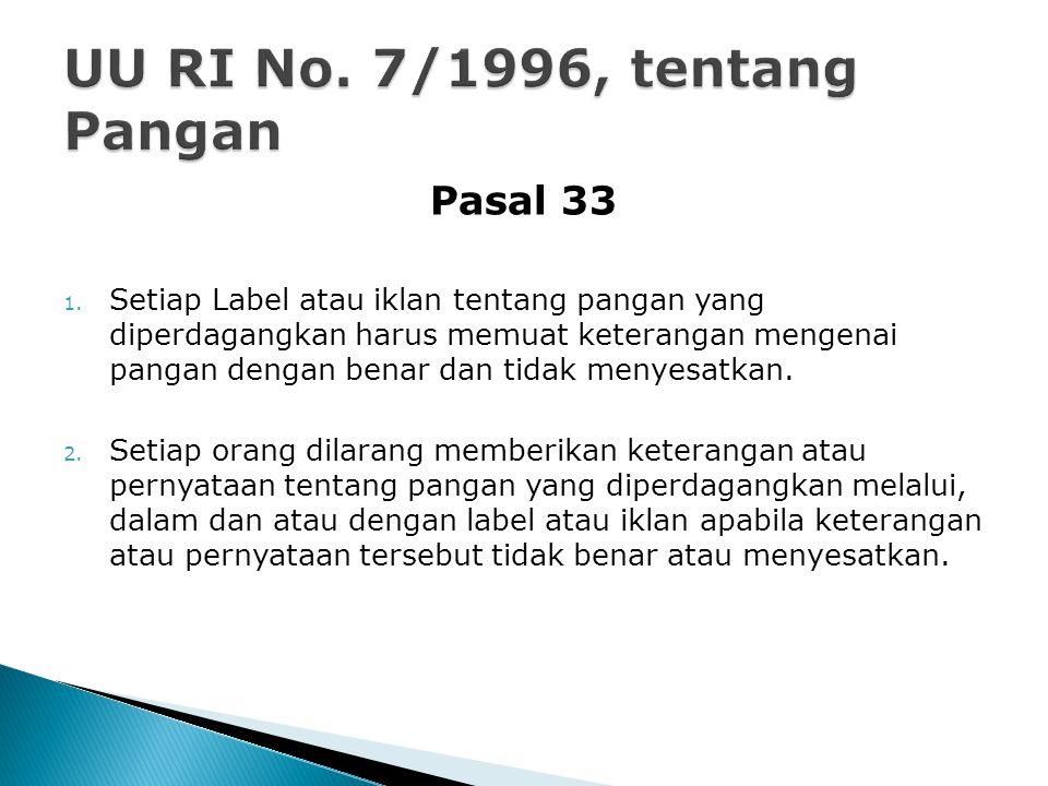 UU RI No. 7/1996, tentang Pangan