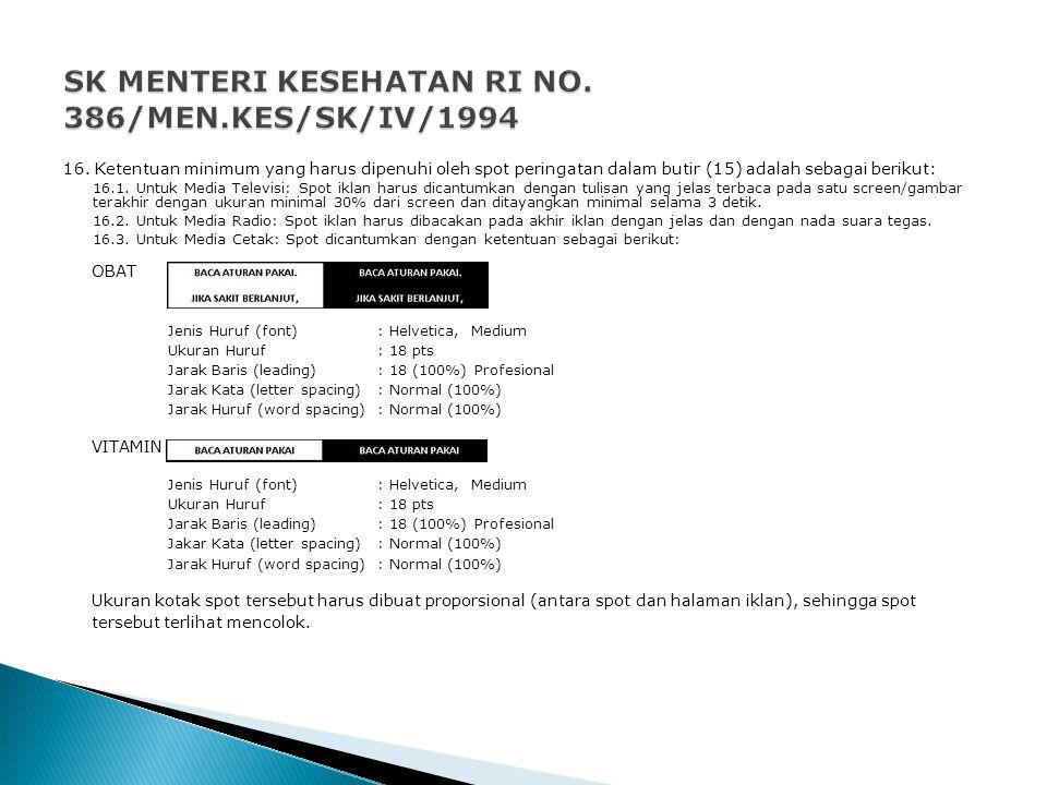 SK MENTERI KESEHATAN RI NO. 386/MEN.KES/SK/IV/1994