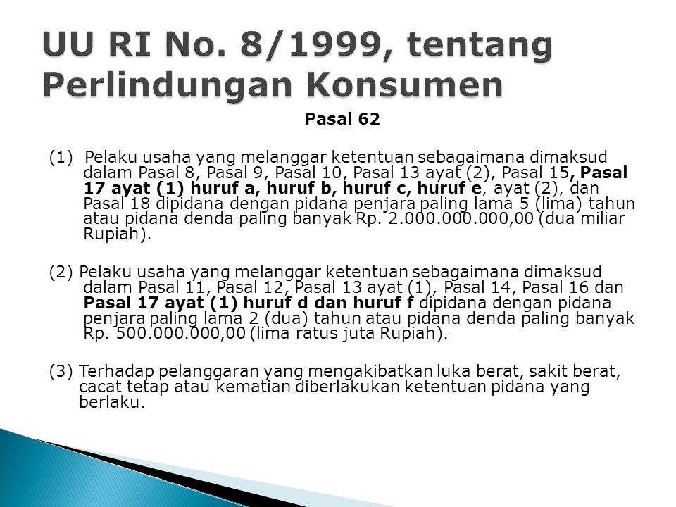 UU RI No. 8/1999, tentang Perlindungan Konsumen