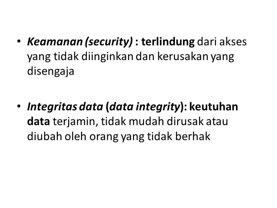 Keamanan (security) : terlindung dari akses yang tidak diinginkan dan kerusakan yang disengaja