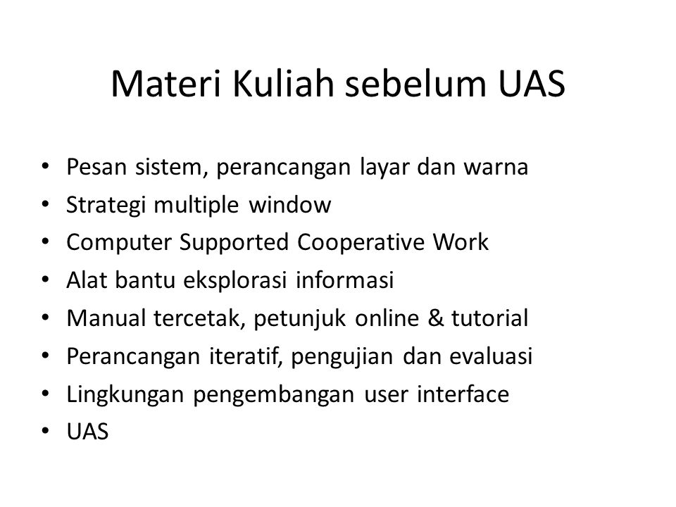 Materi Kuliah sebelum UAS