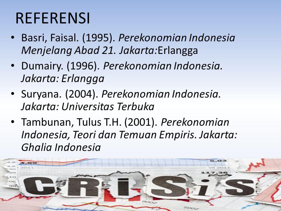 REFERENSI Basri, Faisal. (1995). Perekonomian Indonesia Menjelang Abad 21. Jakarta:Erlangga.