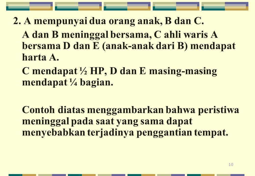 2. A mempunyai dua orang anak, B dan C.