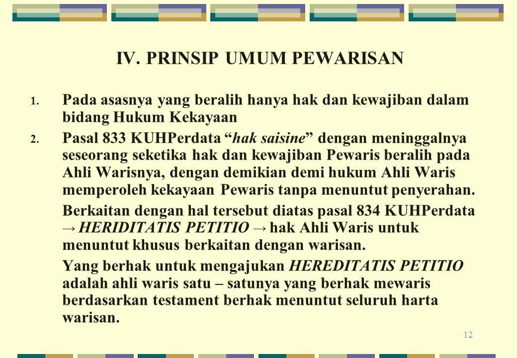 IV. PRINSIP UMUM PEWARISAN
