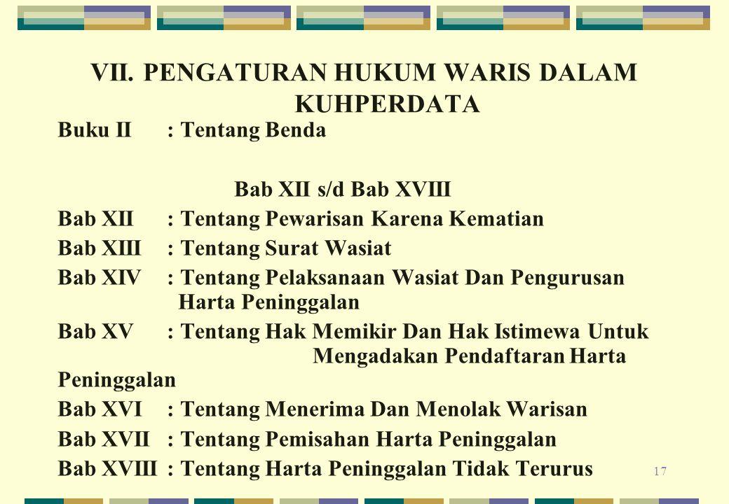 VII. PENGATURAN HUKUM WARIS DALAM KUHPERDATA