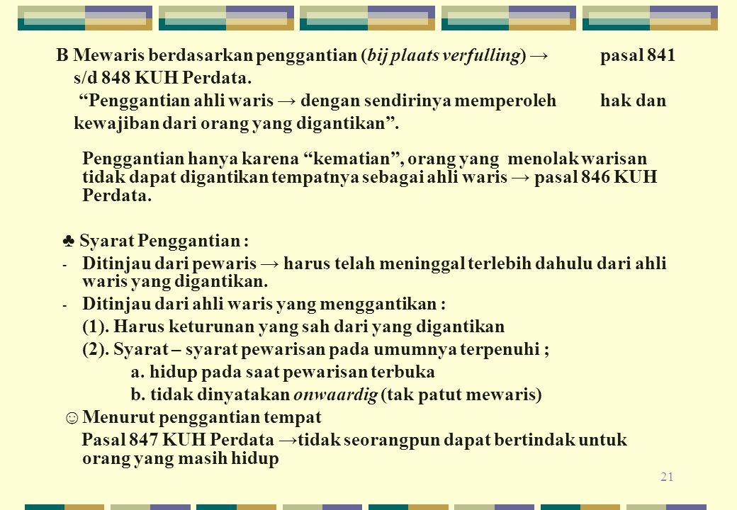 B Mewaris berdasarkan penggantian (bij plaats verfulling) →