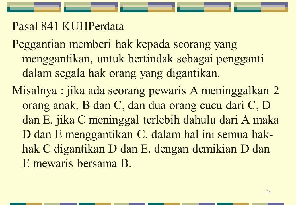 Pasal 841 KUHPerdata Peggantian memberi hak kepada seorang yang menggantikan, untuk bertindak sebagai pengganti dalam segala hak orang yang digantikan.