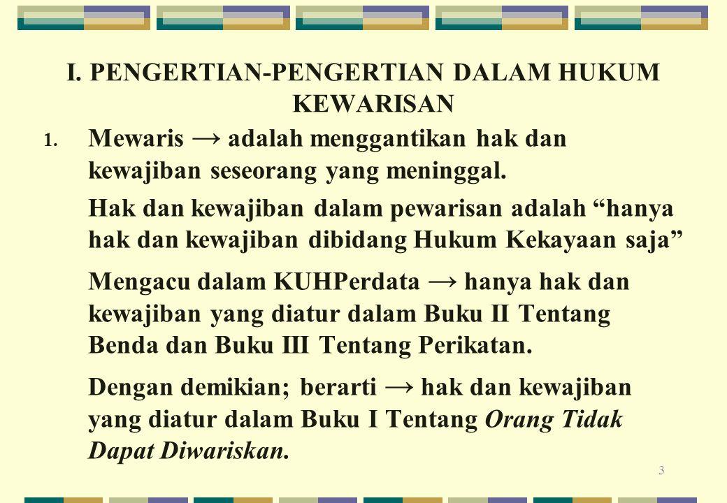 I. PENGERTIAN-PENGERTIAN DALAM HUKUM KEWARISAN