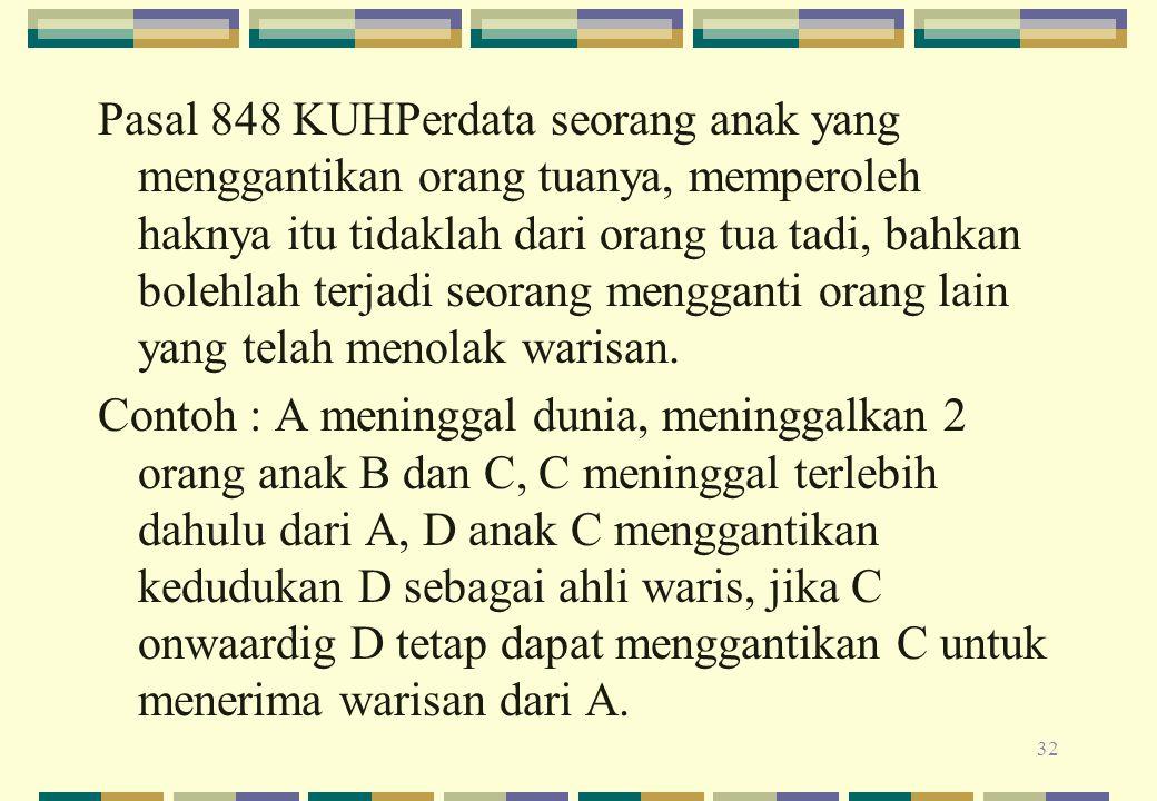 Pasal 848 KUHPerdata seorang anak yang menggantikan orang tuanya, memperoleh haknya itu tidaklah dari orang tua tadi, bahkan bolehlah terjadi seorang mengganti orang lain yang telah menolak warisan.
