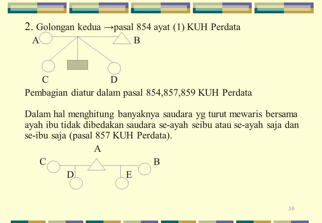2. Golongan kedua →pasal 854 ayat (1) KUH Perdata