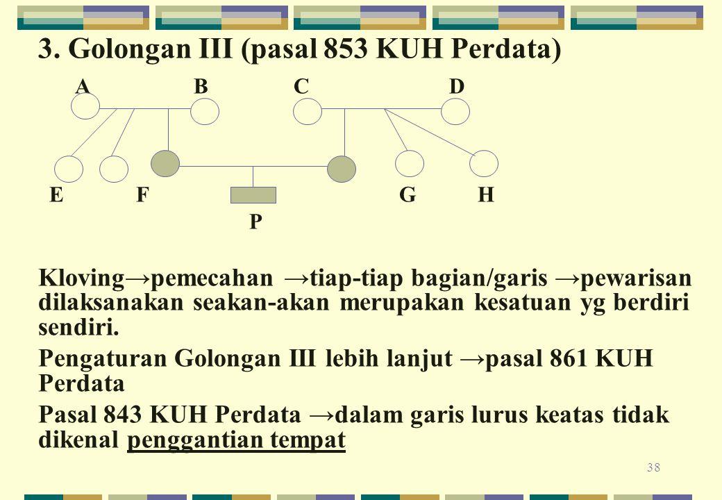 3. Golongan III (pasal 853 KUH Perdata) A B C D