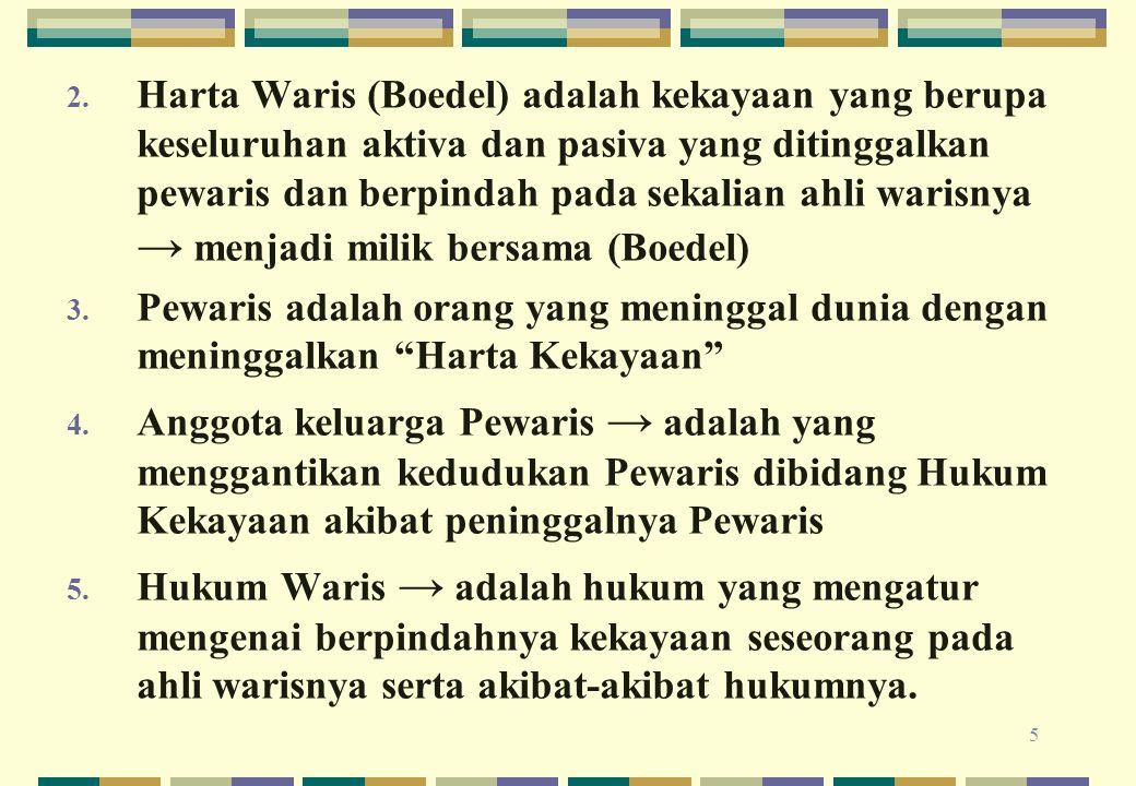 Harta Waris (Boedel) adalah kekayaan yang berupa keseluruhan aktiva dan pasiva yang ditinggalkan pewaris dan berpindah pada sekalian ahli warisnya → menjadi milik bersama (Boedel)