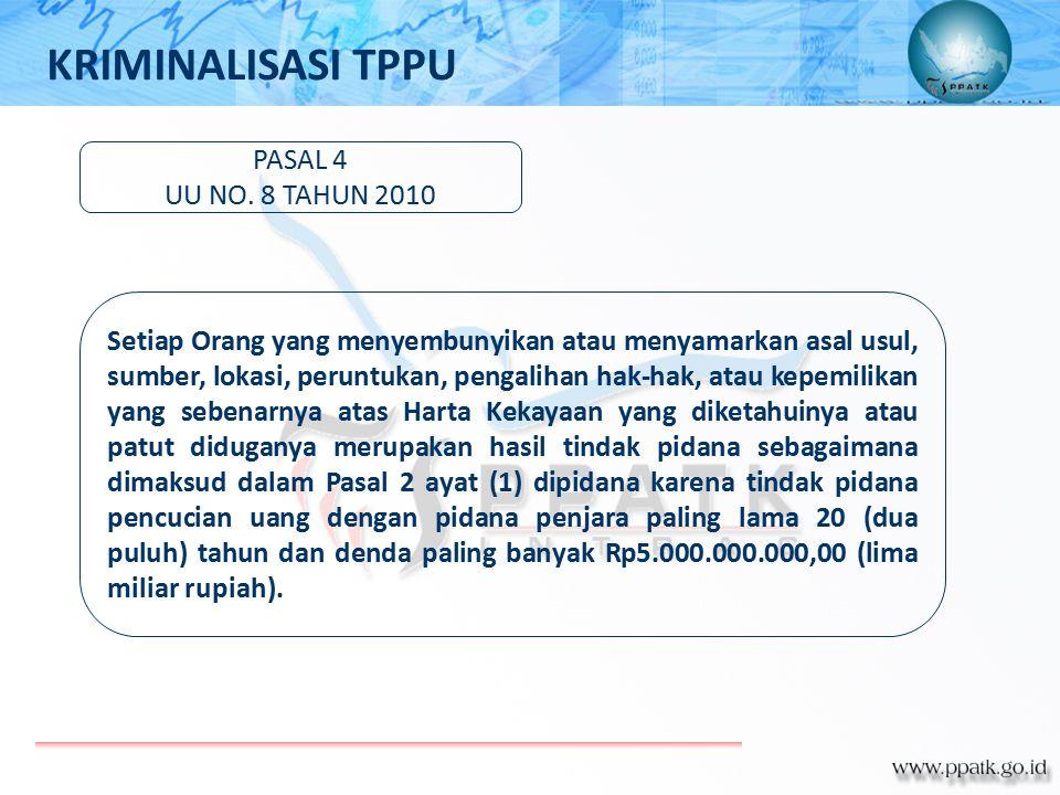 KRIMINALISASI TPPU PASAL 4 UU NO. 8 TAHUN 2010