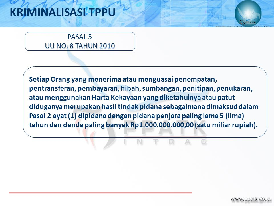 KRIMINALISASI TPPU PASAL 5 UU NO. 8 TAHUN 2010