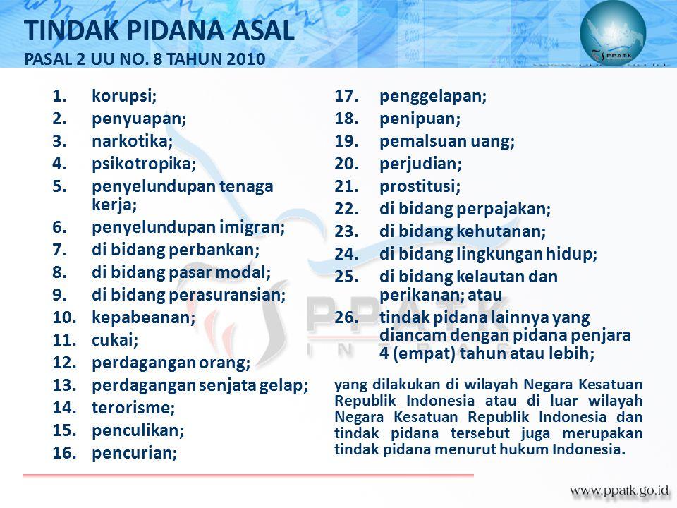 TINDAK PIDANA ASAL PASAL 2 UU NO. 8 TAHUN 2010 korupsi; penyuapan;