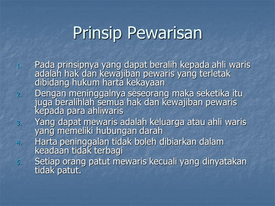 Prinsip Pewarisan Pada prinsipnya yang dapat beralih kepada ahli waris adalah hak dan kewajiban pewaris yang terletak dibidang hukum harta kekayaan.