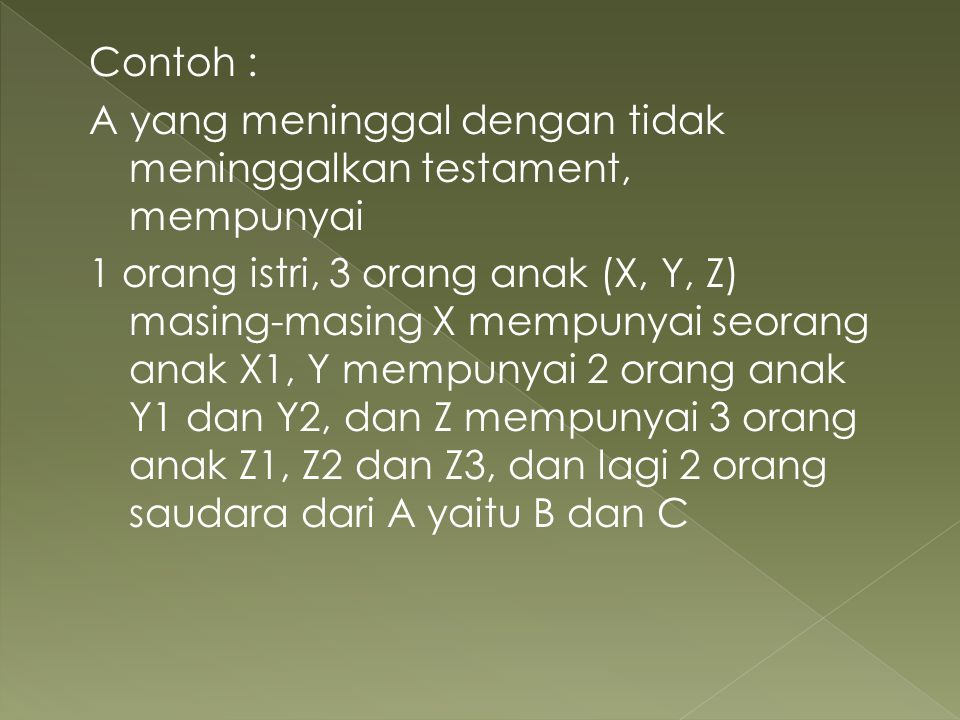 Contoh : A yang meninggal dengan tidak meninggalkan testament, mempunyai 1 orang istri, 3 orang anak (X, Y, Z) masing-masing X mempunyai seorang anak X1, Y mempunyai 2 orang anak Y1 dan Y2, dan Z mempunyai 3 orang anak Z1, Z2 dan Z3, dan lagi 2 orang saudara dari A yaitu B dan C