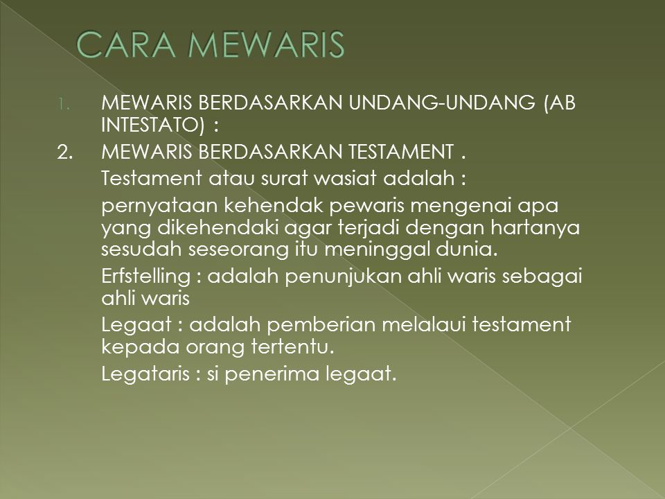 CARA MEWARIS MEWARIS BERDASARKAN UNDANG-UNDANG (AB INTESTATO) :