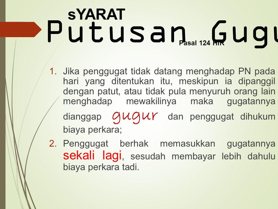 sYARAT Putusan Gugur. Pasal 124 HIR.