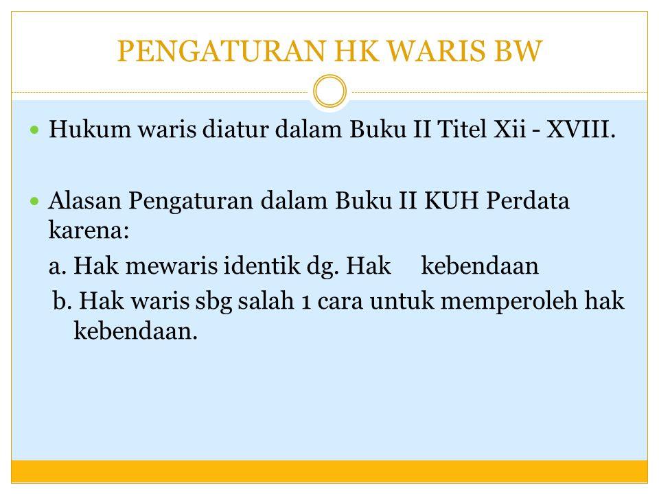 PENGATURAN HK WARIS BW Hukum waris diatur dalam Buku II Titel Xii - XVIII. Alasan Pengaturan dalam Buku II KUH Perdata karena: