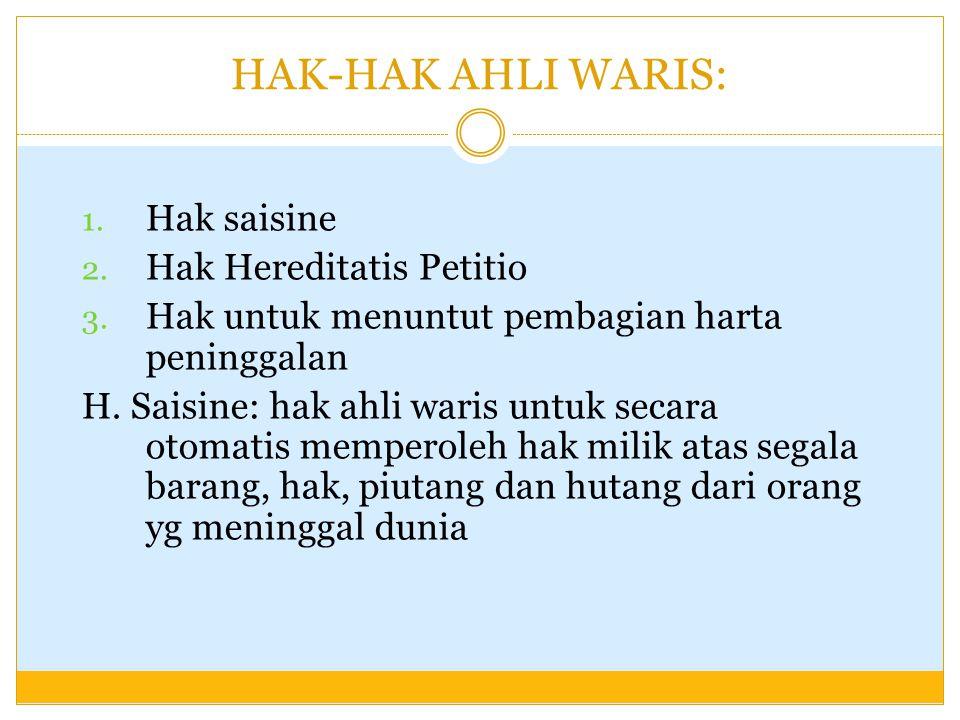 HAK-HAK AHLI WARIS: Hak saisine Hak Hereditatis Petitio