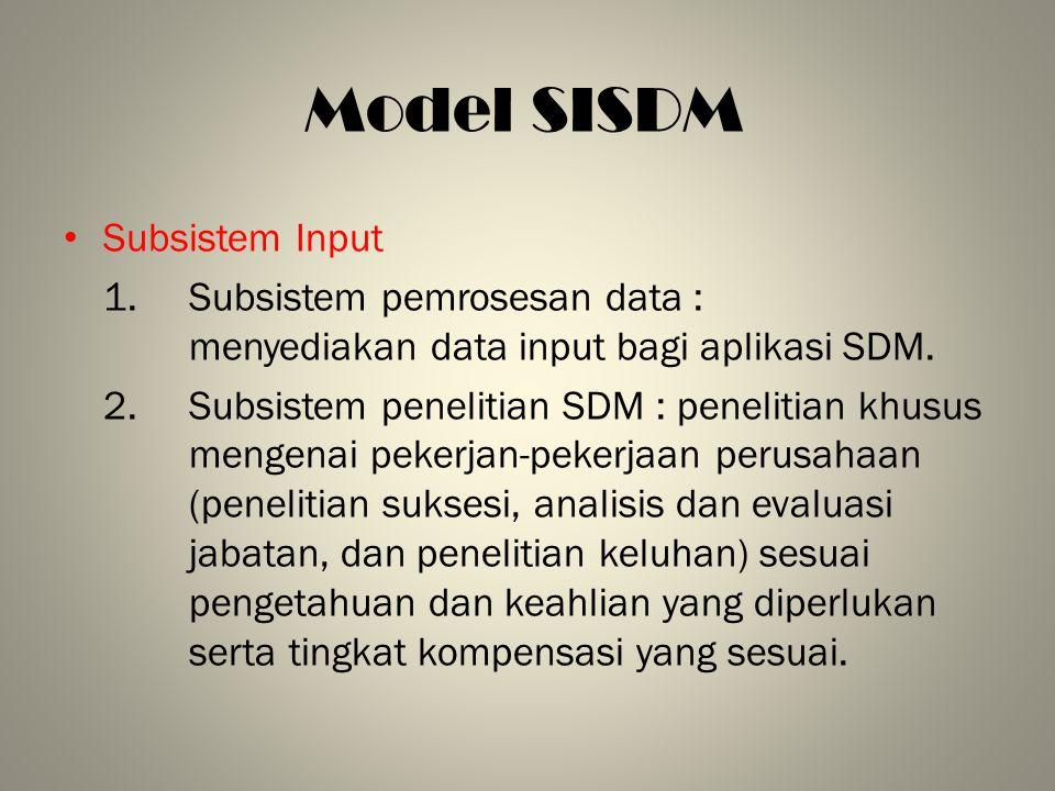 Model SISDM Subsistem Input