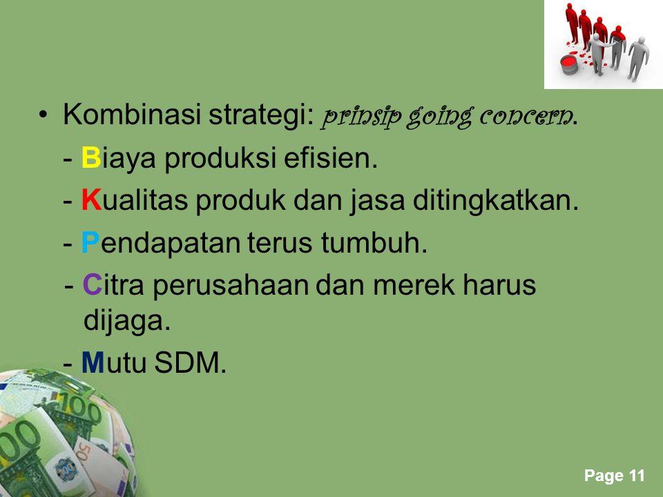 Kombinasi strategi: prinsip going concern.