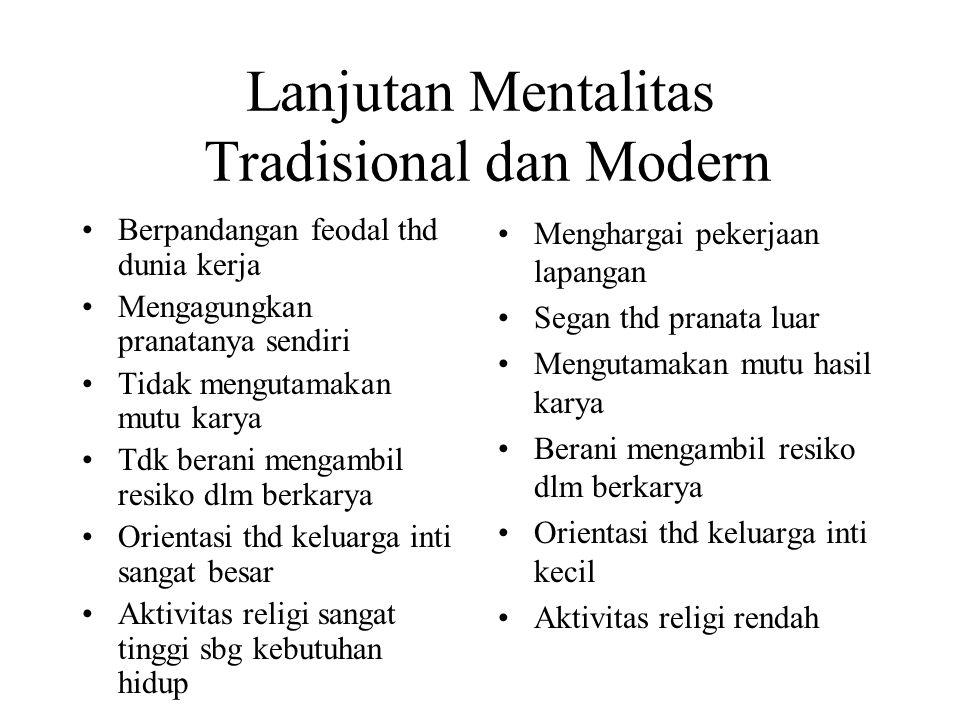 Lanjutan Mentalitas Tradisional dan Modern
