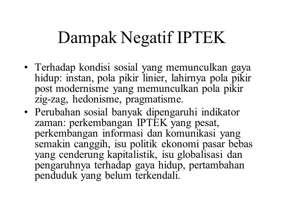 Dampak Negatif IPTEK