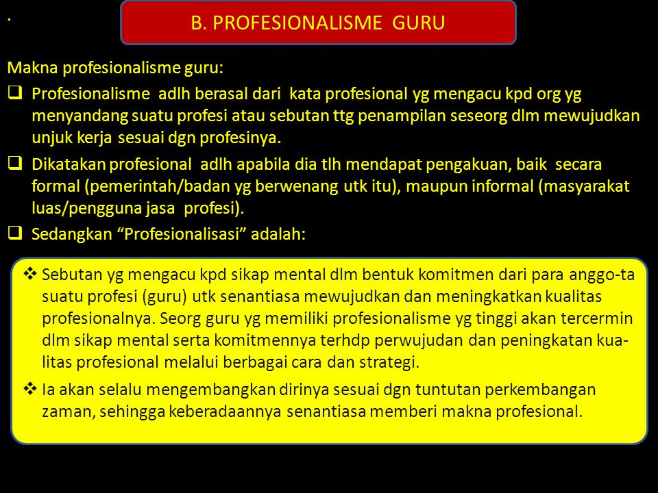 B. PROFESIONALISME GURU