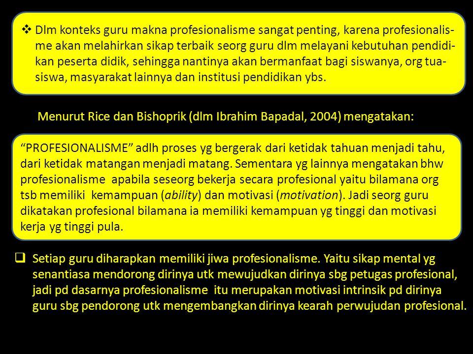 Menurut Rice dan Bishoprik (dlm Ibrahim Bapadal, 2004) mengatakan: