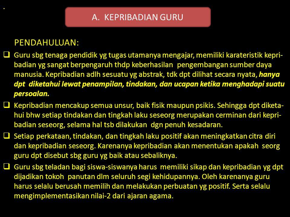 A. KEPRIBADIAN GURU PENDAHULUAN: .