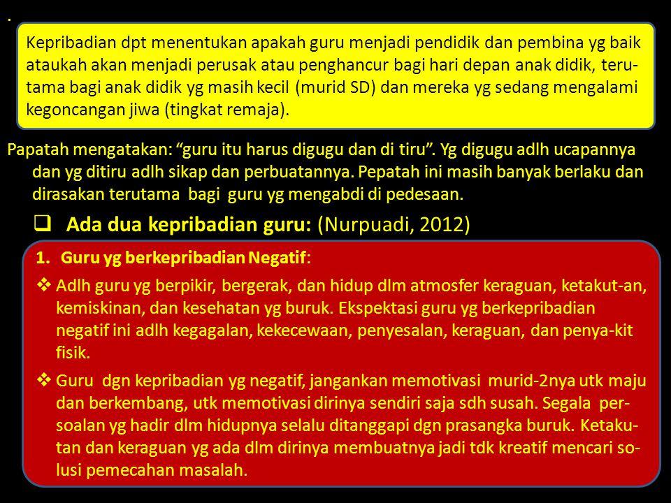 Ada dua kepribadian guru: (Nurpuadi, 2012)