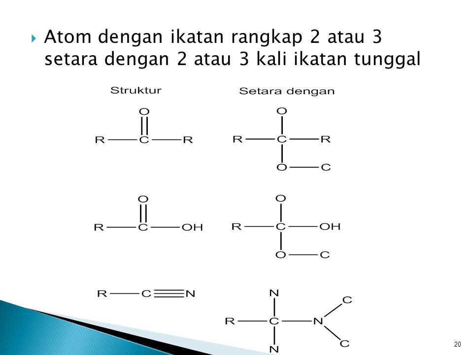 Atom dengan ikatan rangkap 2 atau 3 setara dengan 2 atau 3 kali ikatan tunggal