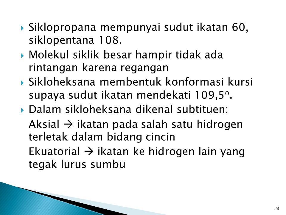 Siklopropana mempunyai sudut ikatan 60, siklopentana 108.