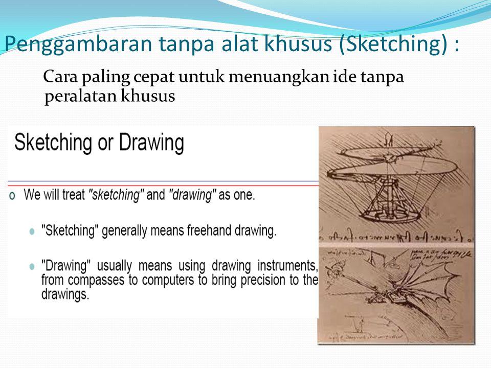 Penggambaran tanpa alat khusus (Sketching) :