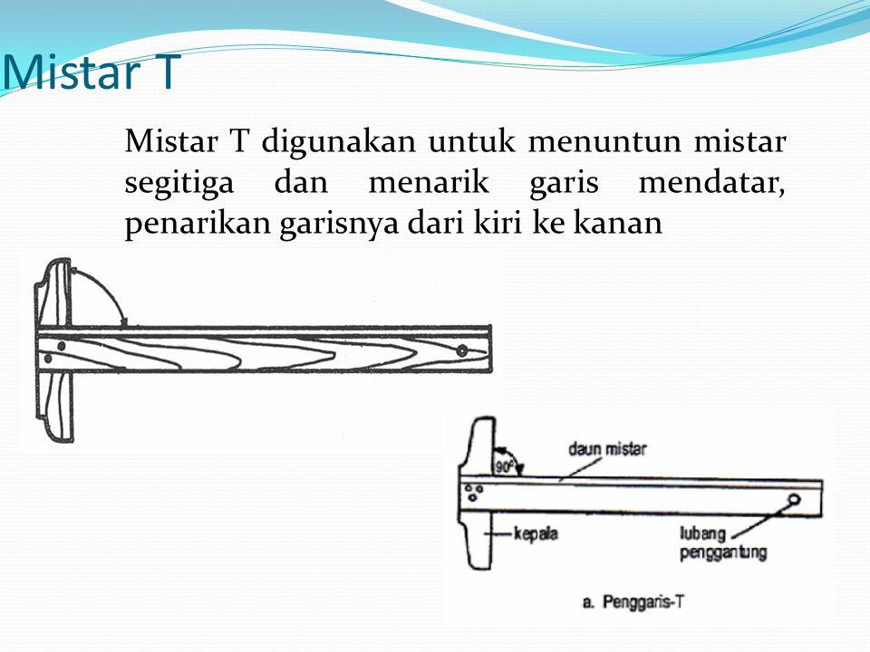 Mistar T Mistar T digunakan untuk menuntun mistar segitiga dan menarik garis mendatar, penarikan garisnya dari kiri ke kanan.