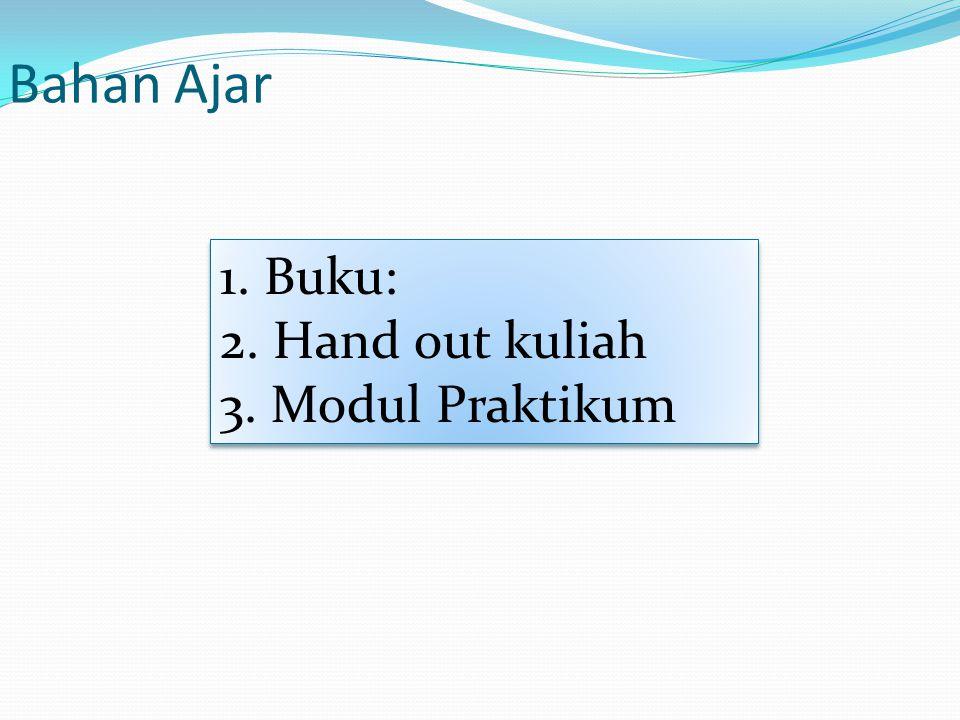 Bahan Ajar 1. Buku: 2. Hand out kuliah 3. Modul Praktikum