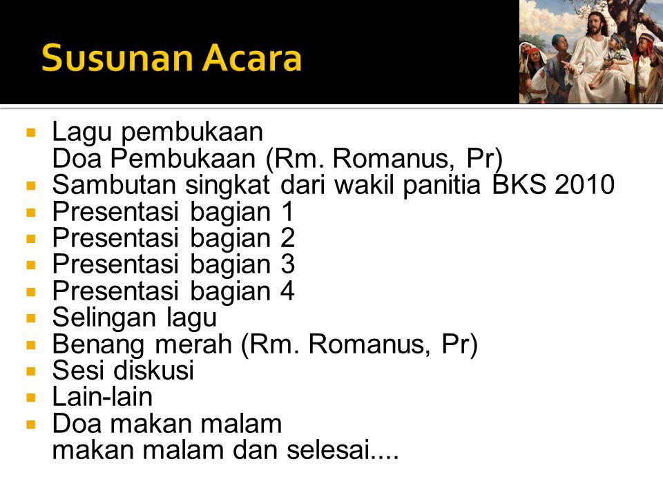 Susunan Acara Lagu pembukaan Doa Pembukaan (Rm. Romanus, Pr)
