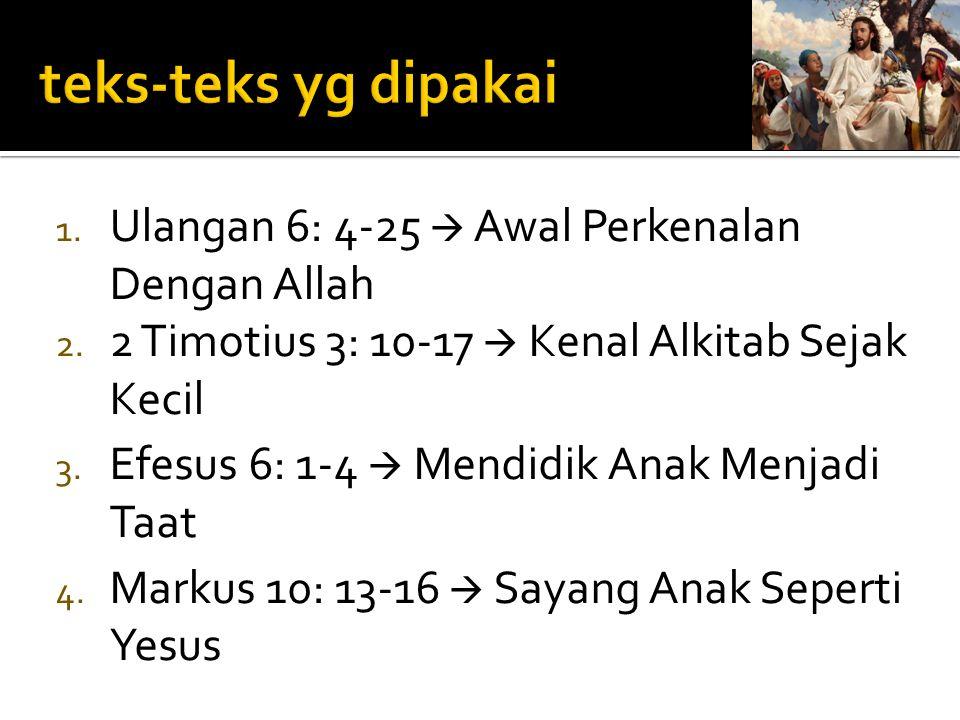 teks-teks yg dipakai Ulangan 6: 4-25  Awal Perkenalan Dengan Allah