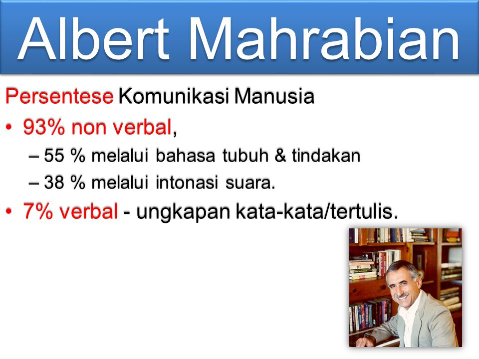 Albert Mahrabian Persentese Komunikasi Manusia 93% non verbal,