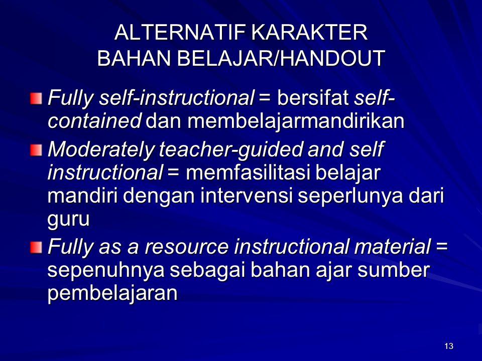 ALTERNATIF KARAKTER BAHAN BELAJAR/HANDOUT