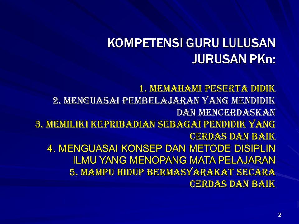 KOMPETENSI GURU LULUSAN JURUSAN PKn: