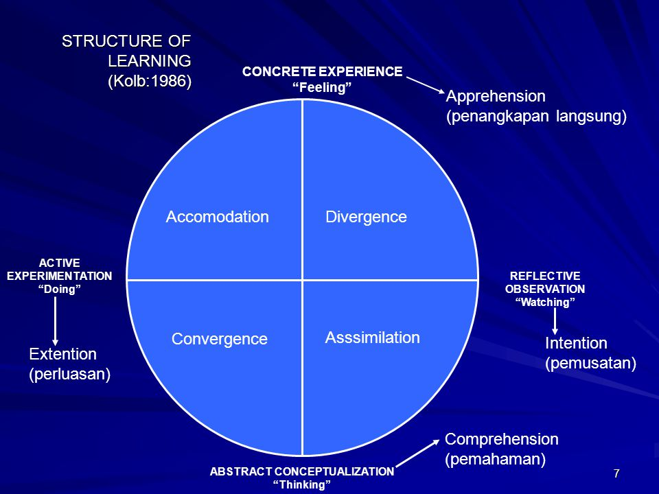 STRUCTURE OF LEARNING (Kolb:1986)