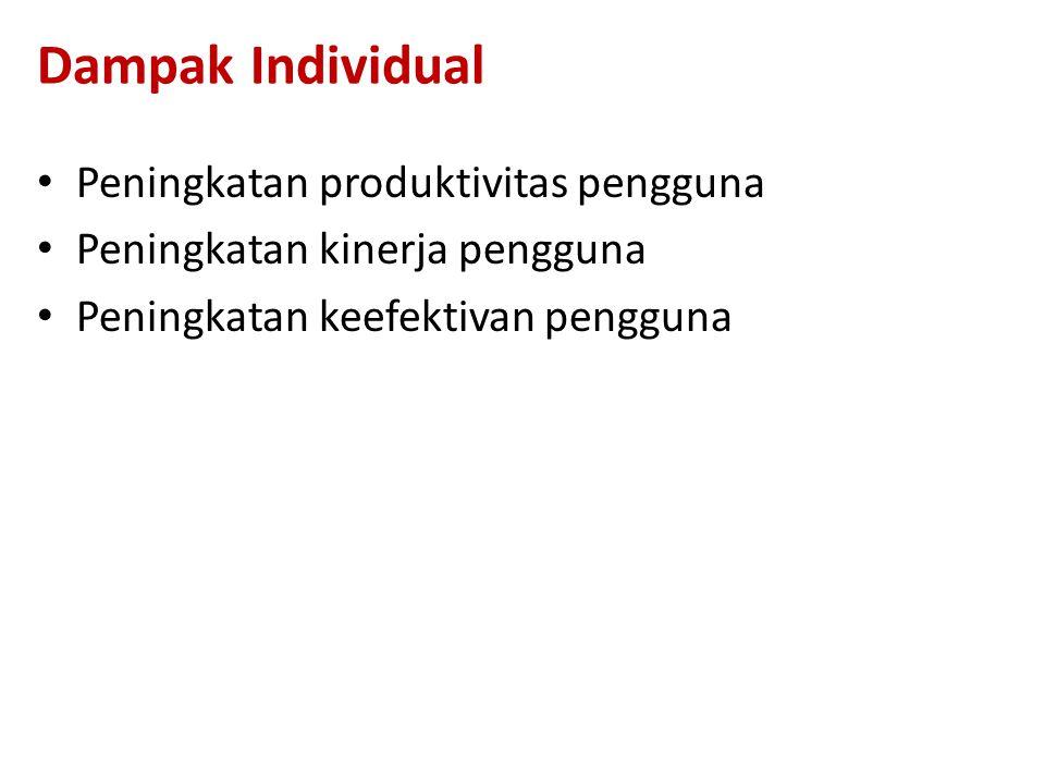 Dampak Individual Peningkatan produktivitas pengguna